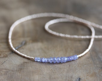 Tanzanite necklace - delicate layering necklace - genuine tanzanite jewelry gemstone necklace, gold seed beads, tanzanite beaded necklace