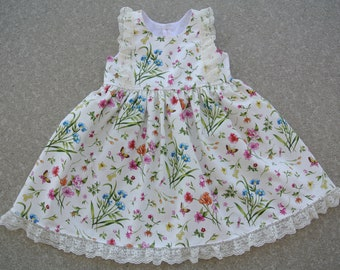 Baby Spring Summer Dress, Floral Print Party Outfit, Dress With Lace, Church Outfit, Size 1 Girls Cotton Dress, Sleeveless Toddler Dress