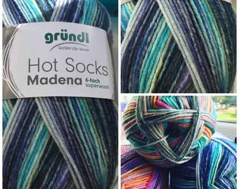 Sockyarn 6ply superwash all beautiful shades of blue lime turquoise teal denim skyblue light blue cobalt 75 % wool 150 g 375 meter shade 08