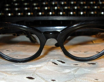 REDUCED Cateye Glasses  Black with Rhinestones (arms need replacing) True Vintage