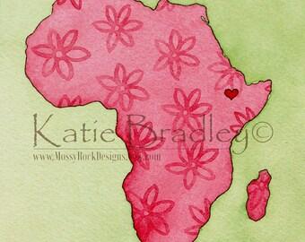 "NEW 8x10 print ""I love Ethiopia"" pink Africa map"