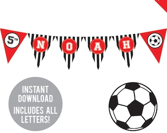 INSTANT DOWNLOAD Soccer Party (Red) - DIY printable pennant banner - Includes all letters, plus ages 1-18
