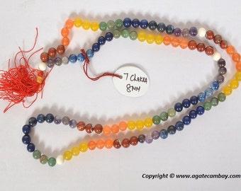 7-Chakra Jap Mala-8 mm beads / Chakra gemstone japa mala beads 108 beads ~ meditation, prayer, chakra healing from India.