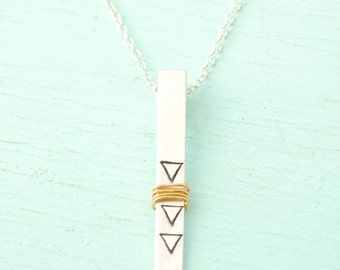 Sculpted bar WRAPPED TRIANGLE mixed metals Organic rectangle pendant necklace - handmade sterling silver handcrafted by Chocolate and Steel