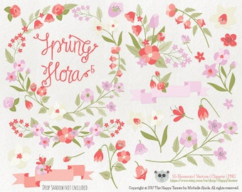 Flowers Clipart Spring Flora 5 Vector Graphics, Flower Clipart, Floral Clipart, PNG, Clip Art, Floral, Coral, Pink