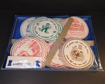 Vintage Set of 60 Amish Paper Coasters, New Old Stock Garden Spots Gifts. Inc, Vintage Coasters