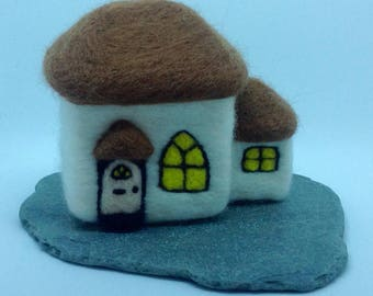 Needle felted cottage. Thatched cottage.