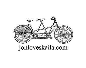 custom tandem bicycle rubber stamp