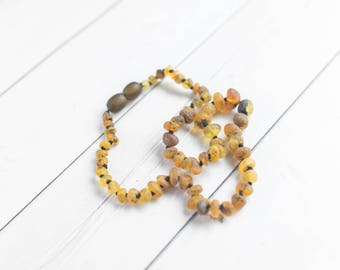 """Baltic Amber Teething Necklace - 13"""" Amber Teething Necklace - Baby Teething Necklace - Healing Amber Necklace - Safety Knots - US Seller"""