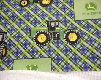 "Brand New John Deere Plaid Tractor Fabric 100% Cotton Fabric 36""L  x 44""W"
