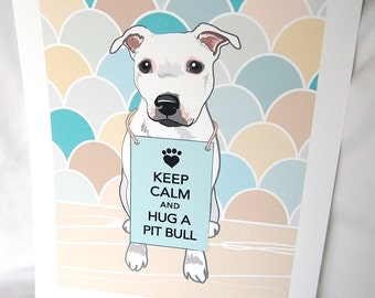 Keep Calm Pit Bull - 7x9 Eco-friendly Print
