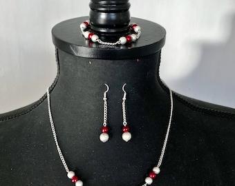 Red & silver stardust jewellery set