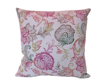 Designer Pillow with Raspberry, Lime, Citron Yellow and Tangerine Block Print