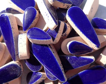"""Dark Blue Teardrop Mosaic Tiles - 50g Ceramic Drops in Mix of 2 Sizes 1/2"""" and 3/5"""" in Indigo Blue"""