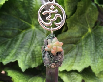 Succulent Om fluorite Necklace