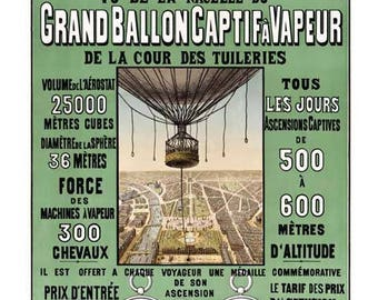 Panorama de Paris Travel Poster - Paris France Ballon Vintage Travel Print Art - Hot Air Balloon Home Decor