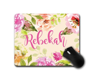 Mousepad, Personalized Watercolor Desk Accessory. Floral Watercolor Mousepads, Home Office Accessories, Office Desk Accessories
