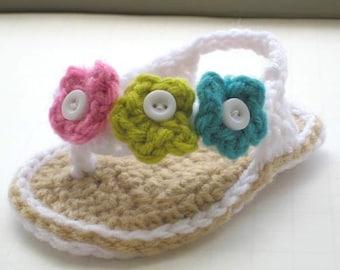 Crochet Pattern Flip Flops , Baby Flip Flops or Thongs for Girls, Crochet Pattern in 4 sizes( pdf pattern for sale)