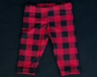 Legging pantalon pour bébé 0-24 mois carreaux buffalo rouges et noirs
