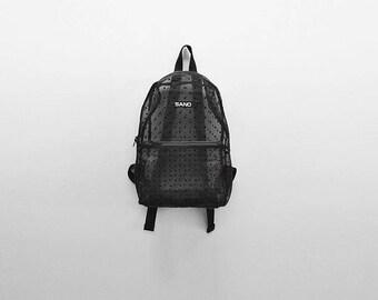 Sheer Polka Dots Black Backpack