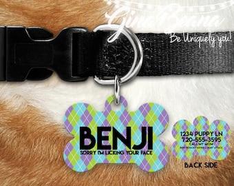Personlized Pet ID Tag Bone Pet Tag-Purple Teal Argyle Dog Tag Dog Name Tag