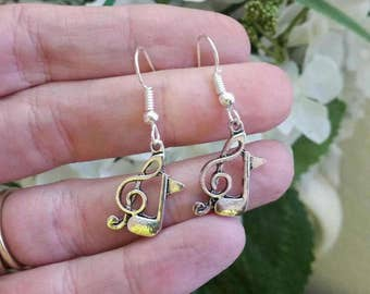 Music Note Charm Earrings - Silver Tone Eighth Note and Treble Clef Music Charm Earrings - tween earrings Music Lover Jewelry