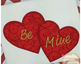 Double Heart Applique Design for Machine Embroidery Instant Download