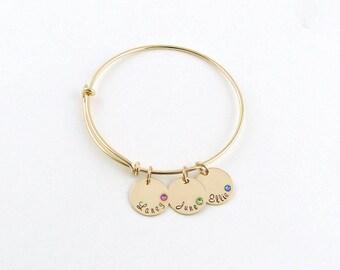 Personalized Birthstone Bracelet, Grandma Jewelry,Gift for mom, Custom Name Jewelry, Birthstone Nana gift,