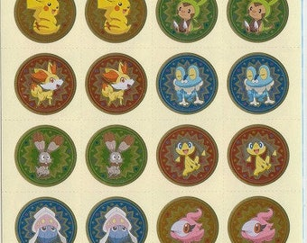 Pokémon Stickers x 2 Sheets - Pokémon Reward Stickers - Reference A5091