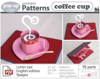 pop-up card__Pattern__coffee cup (digital download file)