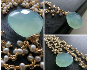 Aqua blue chalcedony and Pearl necklace, something blue Bridal necklace, wedding jewelry, aqua necklace