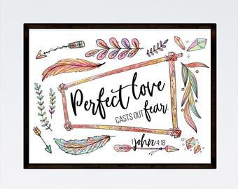 Perfect love casts out fear 1 John 4:18, Bohemian Decor, Christian Print, Scripture Art, Bible Verse Print, Christian Gift, Arrow Wall Decor