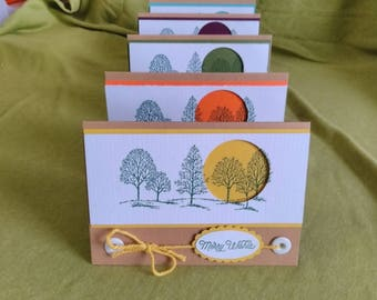 Pack of Five Handmade A6 Landscape Stampin' Up! Christmas Cards
