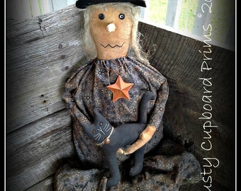 Glinda and Felix, A Prim Witch doll with black cat Autumn Fall Halloween sewing  e pattern