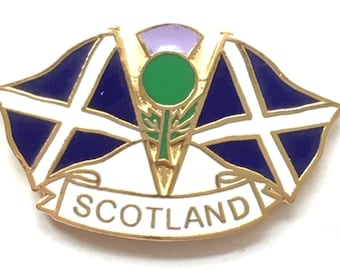 Scotland Double Saltires And Thistle  enamel  Lapel Pin Badge