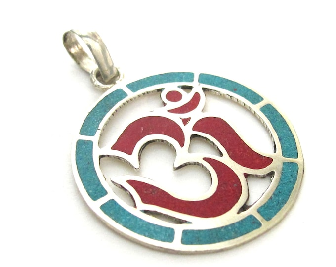 1 pendant - Sanskrit Om Round shape  Nepal pendant with turquoise coral inlay - ohm yoga charms  PM540E