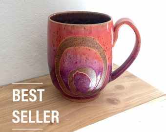 Sunset mug, pottery mug, handmade mug, coffee lover, coffee mug pottery, best seller, top selling gifts, mothers day, birthday gifts for her