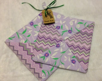Set of 2 Handmade Pot Holders Hot Pads Chevron Floral insulated