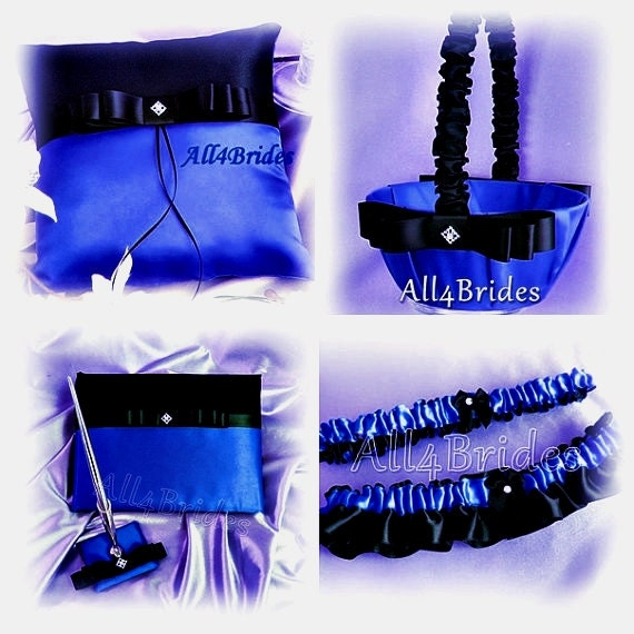 Black and royal blue wedding ring pillow basket bridal leg