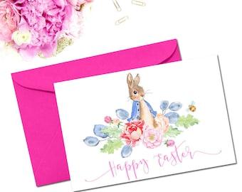 Easter Printable, Easter Card, Easter Greeting Card, Rabbit Easter Card, Bunny Card, Handwritten Easter Card, Floral Easter Card, Digital