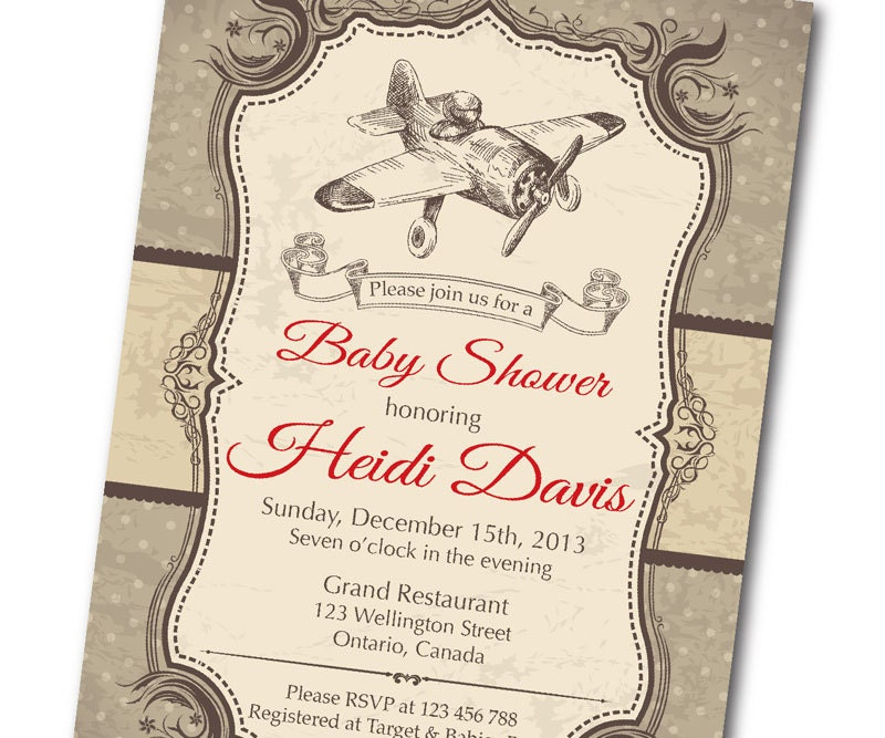 Vintage Airplane Baby Shower Invitation. Retro Baby Boy Shower