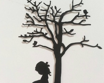 Girl Reading Under a Tree Die Cuts Scrapbook and Cards Making Supplies DIY 10 pcs / 5 of each choose the color or mix