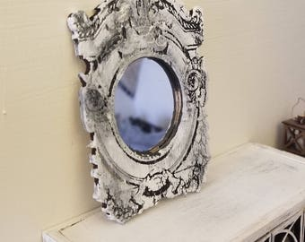 Miniature dollhouse Rococo style mirror and frame elegantly engraved 1:12 scale French Grey or Unfinished