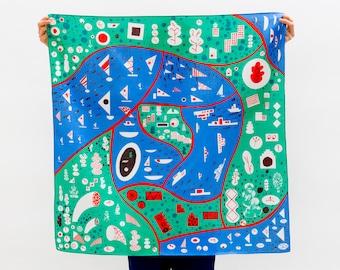 Livraison gratuite dans le monde entier / Stockholm vert Furoshiki. Japonais éco emballage textile/foulard, fait à la main au Japon
