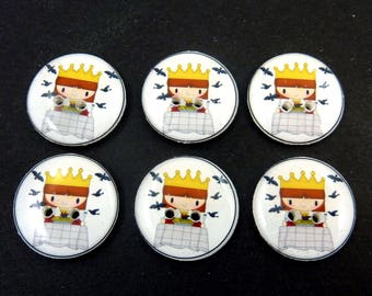 """6 Sing a Song of Sixpence  Handmade Nursery Rhyme Sewing Buttons.  3/4"""" = 20 mm"""