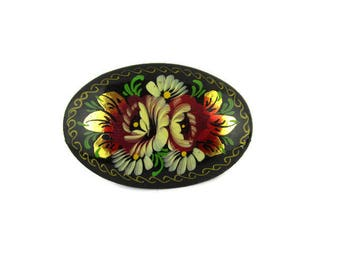 Russian Black Lacquered Pin/ Big Khokhloma Flower Brooch /USSR handpainted Wood Pin /Signed UBA HOBA
