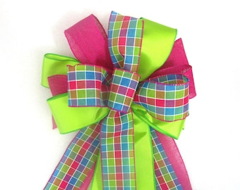 Easter Bow / Tree Topper Bow / Christmas Tree Topper Bow / Christmas Tree Bow / Pink Bow / Lime Bow