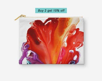 Floral Makeup Pouch, Accessory Bag, Abstract Makeup Bag, White Red Purple Zip Pouch, Pencil Bag, Toiletry Bag, Gift for Her, Gift under 20