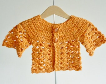 Baby cardigan - age 3 - 6 months - orange pumpkin - matinee jacket - luxury yarn merino wool, silk, mohair