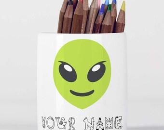Personalised Alien Cute Children Customizable Pencil Pot, Pencil Holder, Pen Pot, Pen Holder, Gift Idea, Children Gift, PPC035
